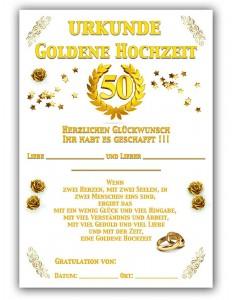 Goldene Hochzeits Urkunde
