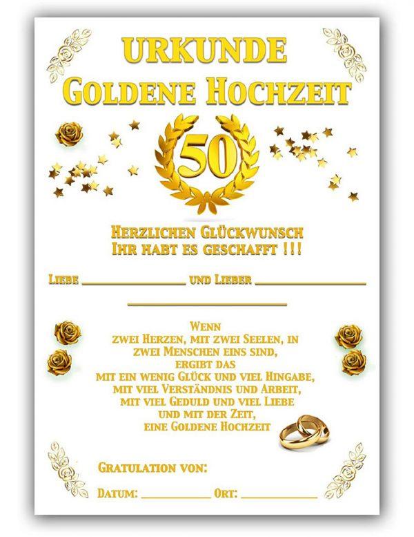 Hochzeits Urkunde Goldene Hochzeit Mit Spruch Künstlerarbeit